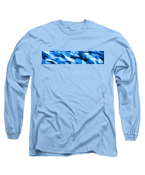 Designer Camo In Blue Long Sleeve T-Shirt