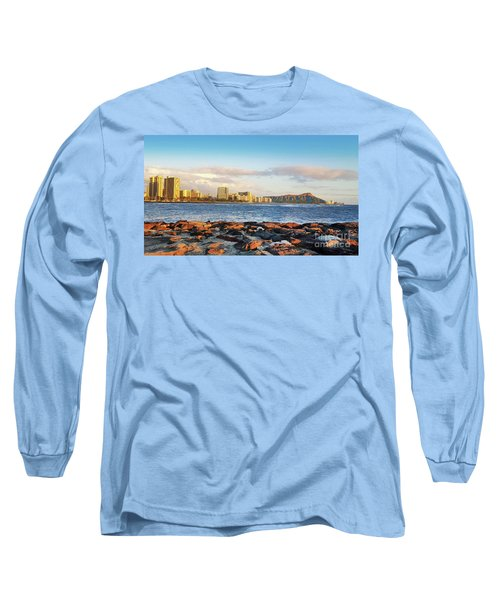 Diamond Head, Waikiki Long Sleeve T-Shirt by Kristine Merc
