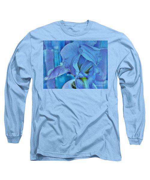 Long Sleeve T-Shirt featuring the mixed media Digital Iris by Marsha Heiken