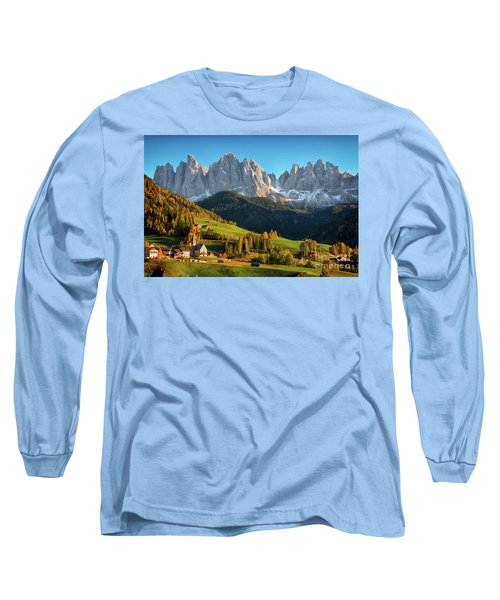 Dolomite Village In Autumn Long Sleeve T-Shirt by IPics Photography