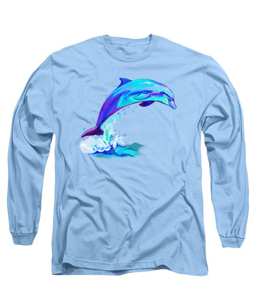 Dolphin In Colors Long Sleeve T-Shirt by A