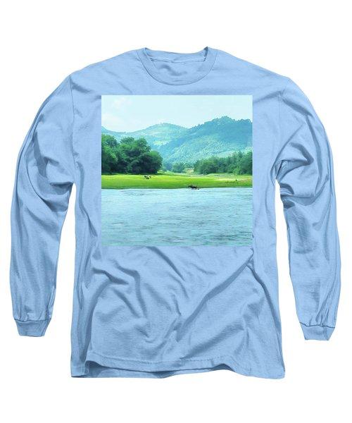 Animals In Li River Long Sleeve T-Shirt