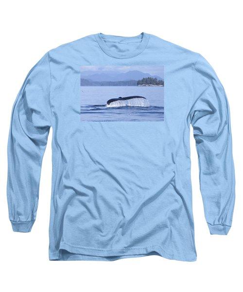 Dripping Whale Fluke Long Sleeve T-Shirt by Michele Cornelius