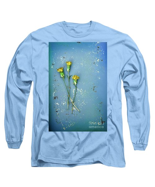 Long Sleeve T-Shirt featuring the photograph Dry Flowers On Blue by Jill Battaglia
