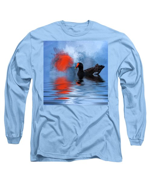 Duck In A Pond Long Sleeve T-Shirt by Cyndy Doty