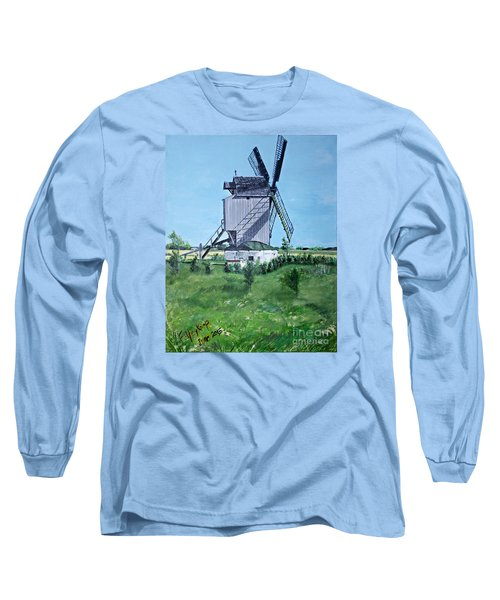 Dunkerque Windmill North Of France Long Sleeve T-Shirt by Francine Heykoop