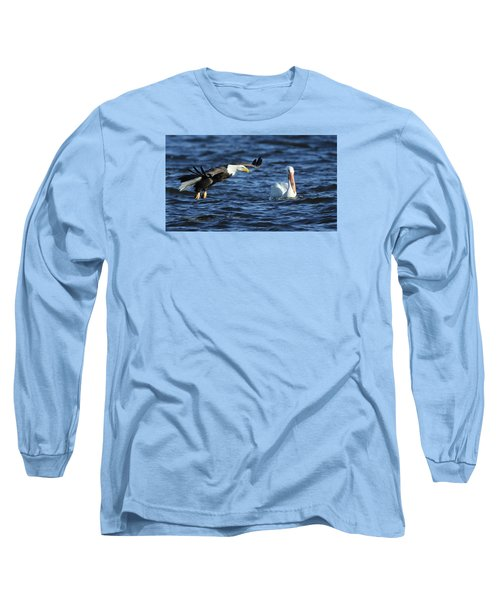 Eagle And Pelican Long Sleeve T-Shirt by Coby Cooper