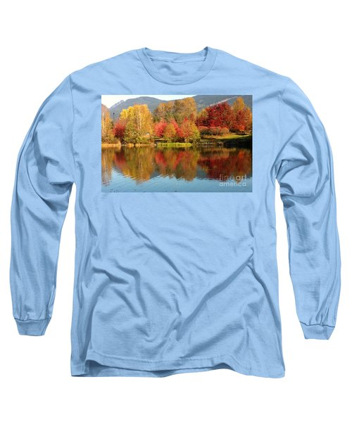 Long Sleeve T-Shirt featuring the painting Early Fall At Lafarge Lake by Rod Jellison