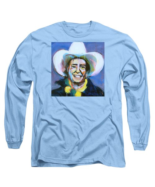 Early Willie The Flying Cowboy Long Sleeve T-Shirt by Les Leffingwell
