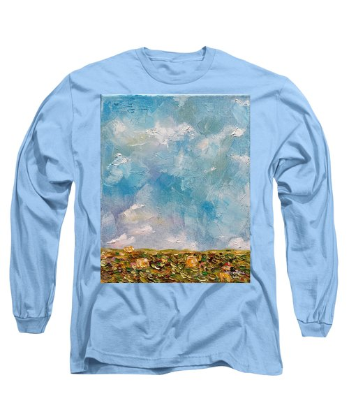 Long Sleeve T-Shirt featuring the painting East Field Seedlings by Judith Rhue
