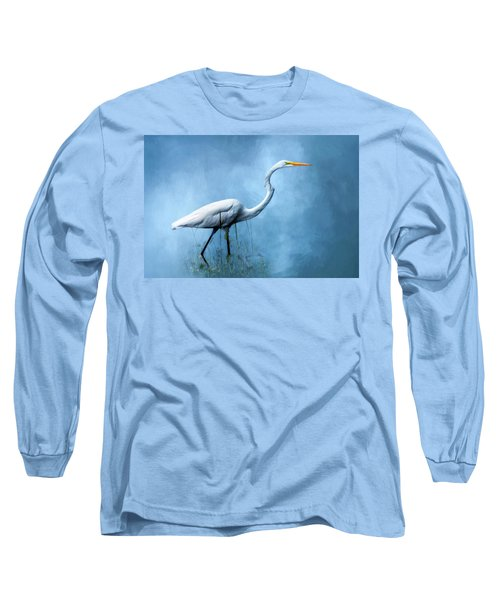 Egret Long Sleeve T-Shirt by Cyndy Doty