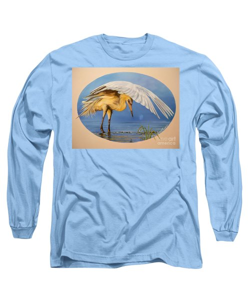 Long Sleeve T-Shirt featuring the painting Egret Fishing by Sigrid Tune
