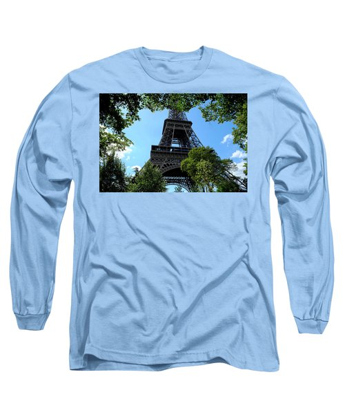 Long Sleeve T-Shirt featuring the photograph Eiffel Through Trees by August Timmermans