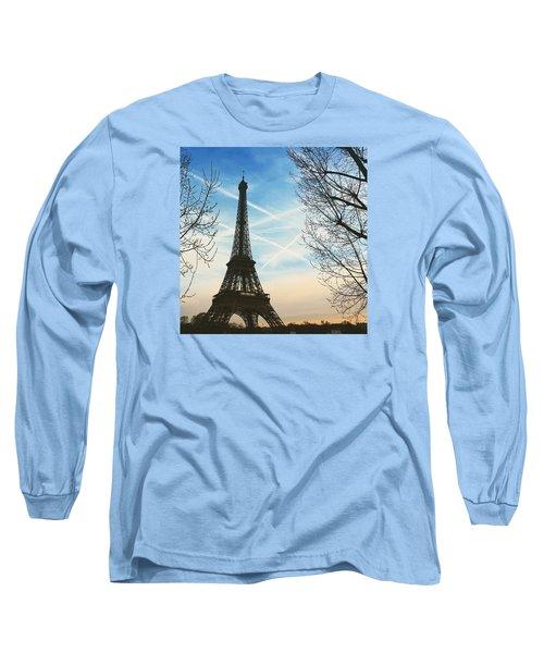 Eiffel Tower And Contrails Long Sleeve T-Shirt by Aurella FollowMyFrench