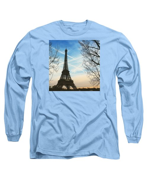 Eiffel Tower And Contrails Long Sleeve T-Shirt