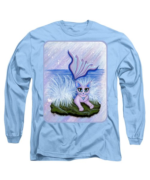 Long Sleeve T-Shirt featuring the painting Elemental Water Mermaid Cat by Carrie Hawks