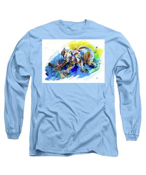 Long Sleeve T-Shirt featuring the painting Elephant Calf Playing With Butterfly by Zaira Dzhaubaeva