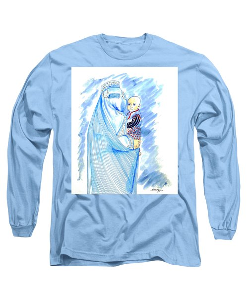 Embroidered Blue Lady-cage -- Woman In Burka Long Sleeve T-Shirt