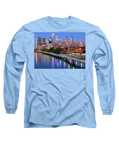Long Sleeve T-Shirt featuring the photograph Evening Lights On The Delaware by Frozen in Time Fine Art Photography