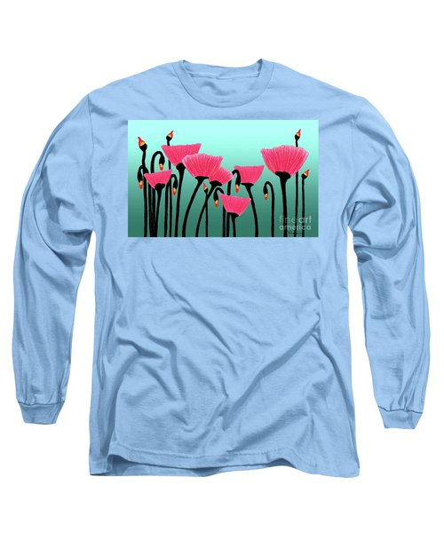 Expressive Red Pink Green Poppy Painting Y1a Long Sleeve T-Shirt