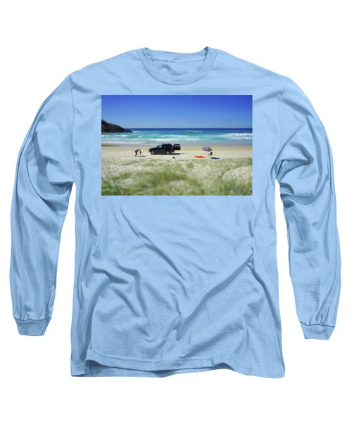 Family Day On Beach With 4wd Car  Long Sleeve T-Shirt