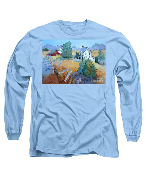 Farm With Blue Roof Tops Long Sleeve T-Shirt