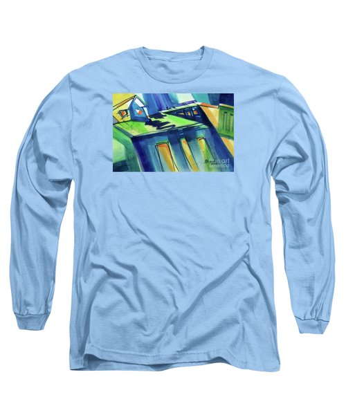 Long Sleeve T-Shirt featuring the painting Feedmill In Blue And Green by Kathy Braud