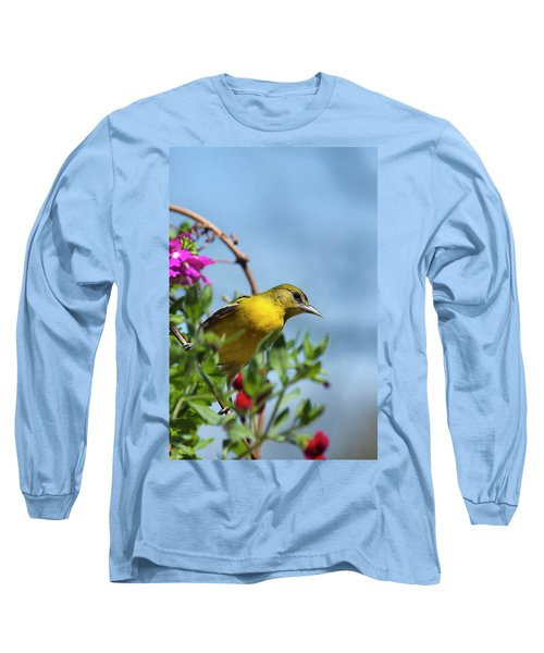 Female Baltimore Oriole In A Flower Basket Long Sleeve T-Shirt