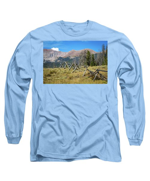 Long Sleeve T-Shirt featuring the photograph Fences Into The Rockies by Dawn Romine