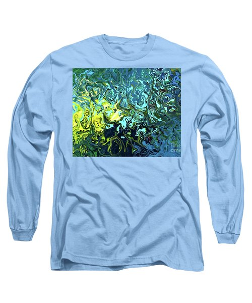 Long Sleeve T-Shirt featuring the digital art Fish Abstract Art by Annie Zeno