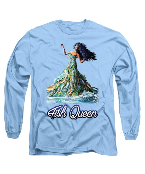Long Sleeve T-Shirt featuring the painting Fish Queen by Anthony Mwangi