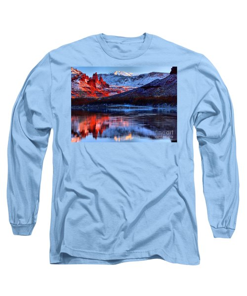 Long Sleeve T-Shirt featuring the photograph Fisher Towers Sunset Winter Landscape by Adam Jewell
