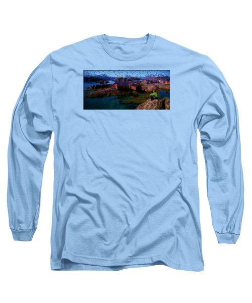 Long Sleeve T-Shirt featuring the painting Fishermen Cabins by Mario Carini