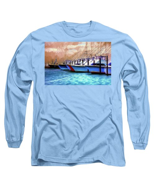 Long Sleeve T-Shirt featuring the painting Fishing Boats Of The Outer Banks Ap by Dan Carmichael