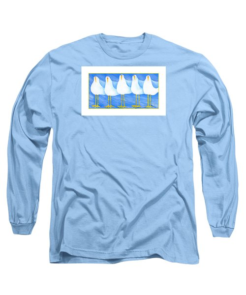 Five Seagulls Long Sleeve T-Shirt by Pat Olson