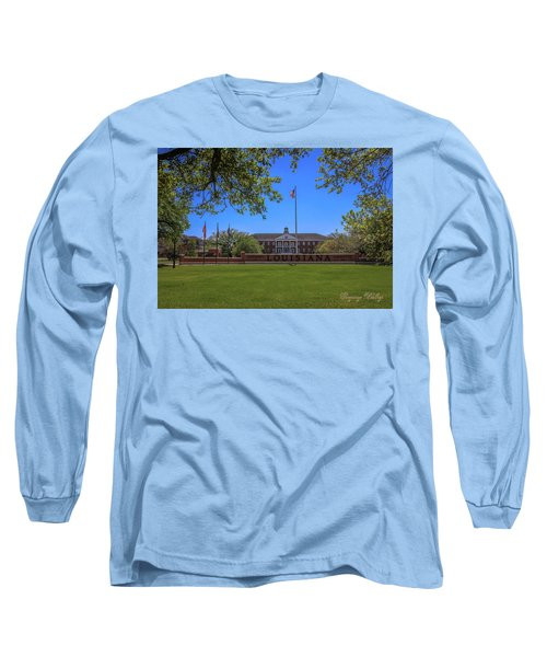 Long Sleeve T-Shirt featuring the photograph Flag At Entrance by Gregory Daley  PPSA