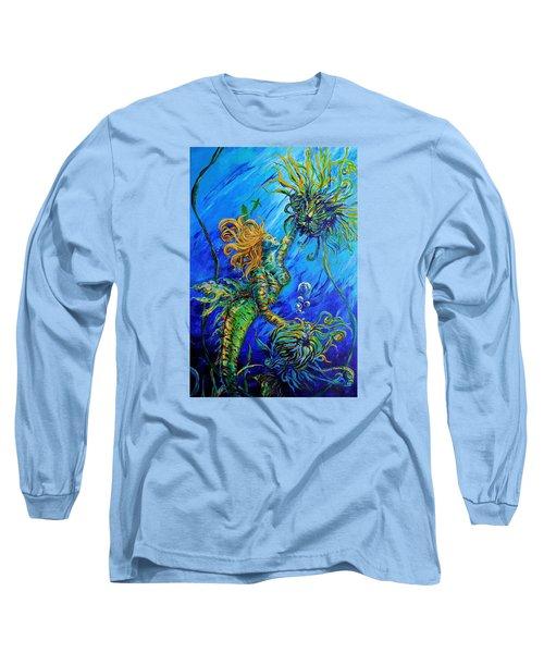 Floating Blond Mermaid Long Sleeve T-Shirt