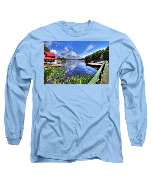 Long Sleeve T-Shirt featuring the photograph Floating Bridge At Covewood by David Patterson