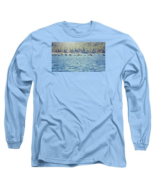 Flock Of Geese Long Sleeve T-Shirt by Janie Johnson