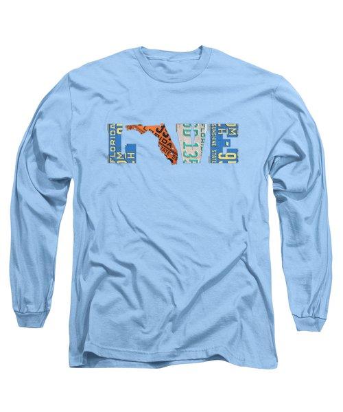 Florida State Love Heart License Plates Art Phrase Long Sleeve T-Shirt