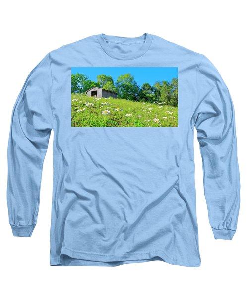 Flowering Hillside Meadow - View 2 Long Sleeve T-Shirt