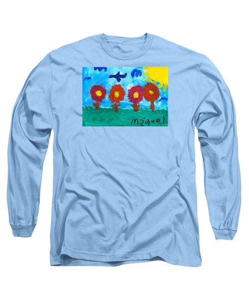 Long Sleeve T-Shirt featuring the painting Flowers And Airplane by Artists With Autism Inc