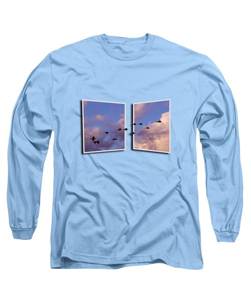 Flying Across Long Sleeve T-Shirt by Roger Wedegis