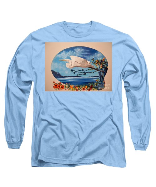 Long Sleeve T-Shirt featuring the painting Flying Egret by Sigrid Tune