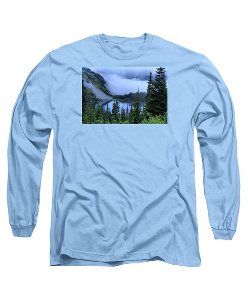 Fog Over Louise Lake Long Sleeve T-Shirt by Lynn Hopwood