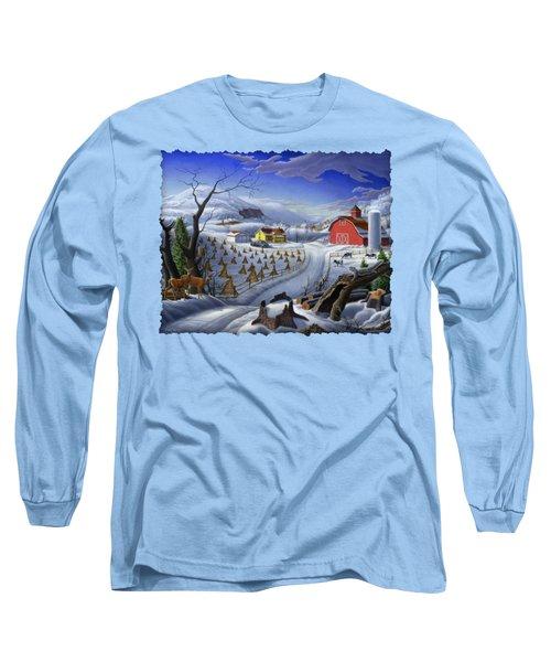 Folk Art Winter Landscape Long Sleeve T-Shirt by Walt Curlee