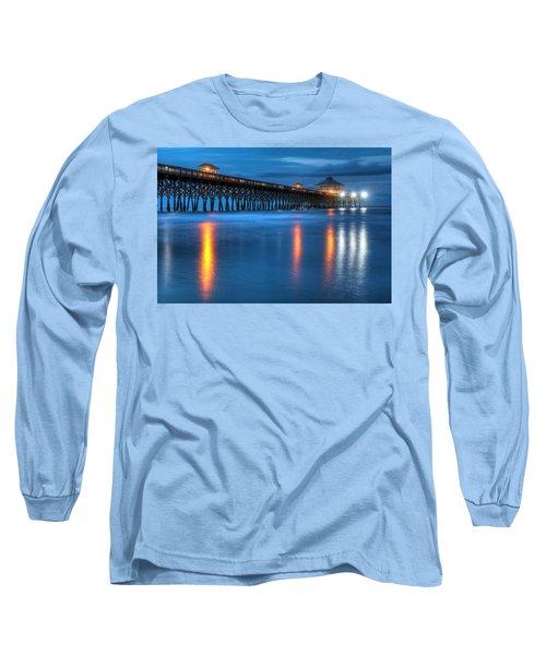 Folly Beach Pier At Blue Hour Charleston South Carolina Long Sleeve T-Shirt