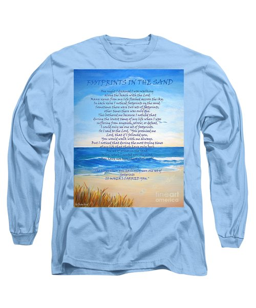 Footprints In The Sand Long Sleeve T-Shirt by Shelia Kempf