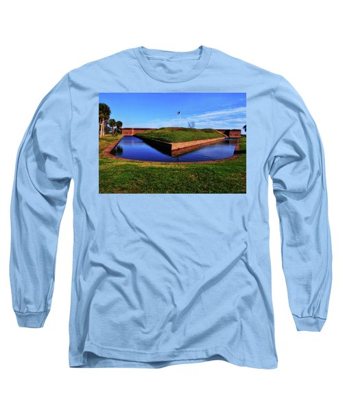 Fort Pulaski Moat - Demilune Wall 001 Long Sleeve T-Shirt by George Bostian