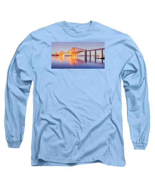 Forth Bridge Sunset Long Sleeve T-Shirt by Ray Devlin